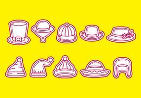 Chapeaux et icônes de vecteur Bonnet