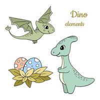 jeu de dinosaures dessinés à la main vecteur
