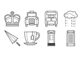 Pack gratuit de vecteurs d'icônes britanniques vecteur