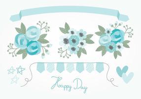 Vecteur éléments floraux bleus