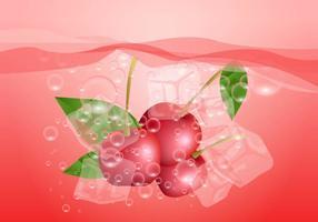 Cerise effervescente dans l'eau vecteur