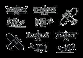 Ensemble d'icônes de biplan