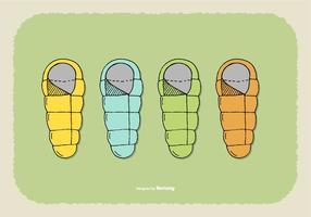 Vecteurs de sac de couchage vecteur