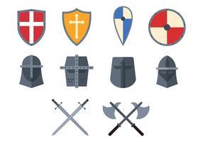 Ensemble d'icônes des Templiers vecteur
