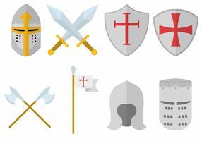 Ensemble chevalier des Templiers vecteur