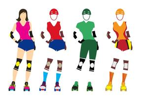 Modèle d'illustration de Roller Derby Girl