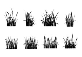 Vecteurs de silhouettes Cattails gratuits vecteur