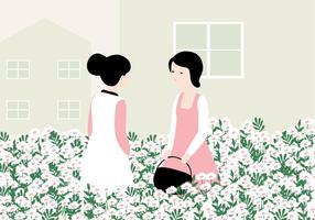 Illustration de jardin de fleurs vecteur