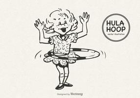Petite fille libre faisant le vecteur Hula Hoop
