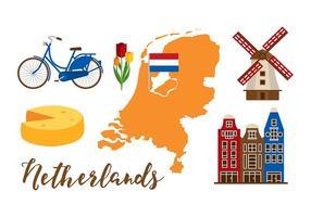 Ensemble de cartes néerlandaises vecteur
