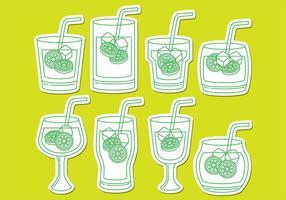 Icônes de boissons Caipirinha vecteur