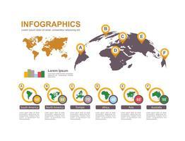 Infographie de carte du monde vecteur