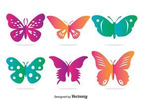 Ensemble de vecteur papillon coloré