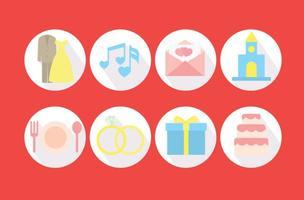 Vecteur d'icônes de cercle de planificateur de mariage