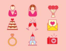 Vecteur d'icônes d'élément de planificateur de mariage