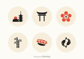 Icônes vectorielles japonaises gratuites vecteur