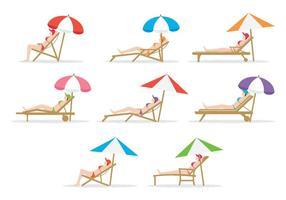 Libre Girl Sitting On Deck Chair vecteur