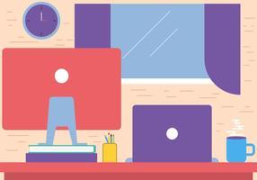 Espace de travail gratuit Flat Vector Desktop