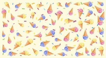 motif de fond jaune avec de nombreux cornets de crème glacée vecteur