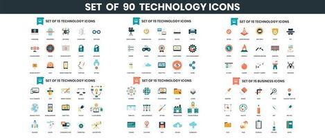 icônes de technologie définies pour les entreprises vecteur