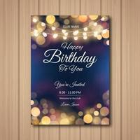 fête d'anniversaire bokeh et invitation lumineuse forte vecteur