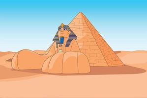 le sphinx et les pyramides egypte vecteur