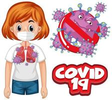 conception d'affiche de coronavirus avec mot et femme malade vecteur