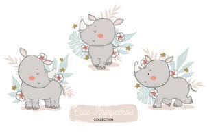 bébé rhinocéros avec des éléments floraux tropicaux