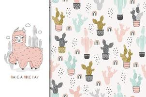 fond de lama et cactus bébé rose transparente
