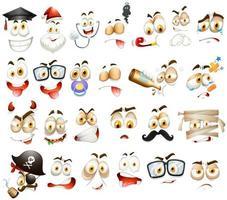 différentes expressions faciales sur blanc vecteur