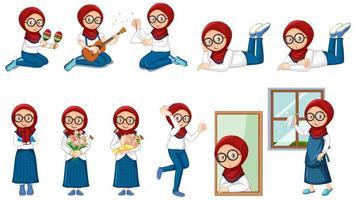 fille musulmane faisant de nombreuses activités sur fond blanc vecteur
