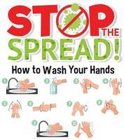 étape pour se laver les mains vecteur
