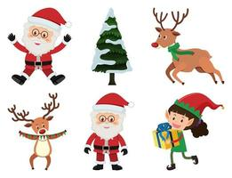 ensemble de Noël avec le père Noël et les rennes vecteur
