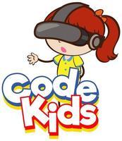 conception de polices pour les enfants de code mot avec fille portant un masque vr vecteur