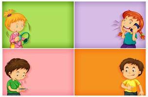 arrière-plans simples avec des garçons et des filles heureux en utilisant leur téléphone vecteur