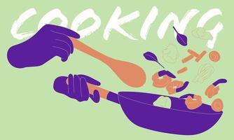 résumé, personne, remuer, friture, cuisine vecteur