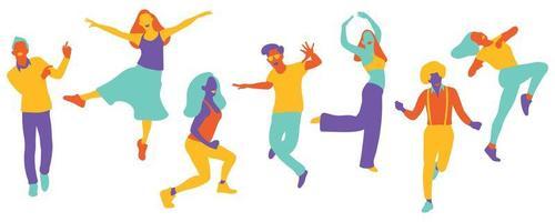 foule de danse abstraite vecteur