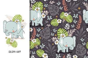 adorable bébé éléphant avec fond floral vecteur