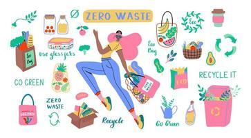 collecte d'articles durables et réutilisables zéro déchet