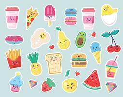 autocollants mignons de bande dessinée de nourriture