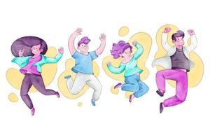 concept de journée de la jeunesse dessiné à la main avec des gens sautant