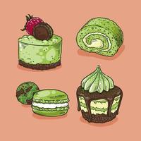 collection de desserts matcha dessinés à la main