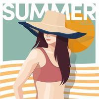 femme en maillot de bain avec chapeau au coucher du soleil d'été vecteur
