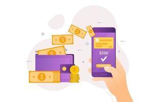 transfert d'argent en ligne avec design bancaire mobile vecteur