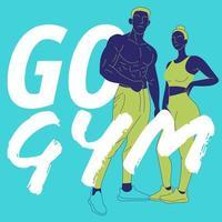 concept de gym coloré avec femme et homme athlétique vecteur