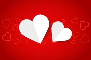 coeurs de papier sur dégradé rouge avec motif coeur vecteur
