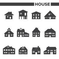 ensemble de 12 icônes de maison grise vecteur