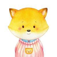 doux petit renard vêtu d'une chemise
