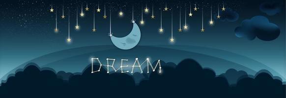 étoiles filantes avec la lune vecteur