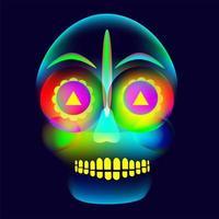 vibrant, brillant, style néon, crâne d'halloween coloré vecteur